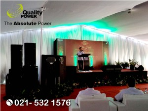 Rental Genset, Misting Fan & Sound System supported by Quality Power Halal Bihalal at PT AHM Jakarta, 05 July 2017.