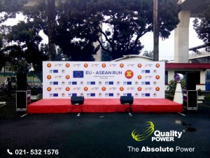 Rental Genset, Misting Fan, Tent, Hand Wash, Portable Toilet & Sound System by Quality Power  EU - ASEAN RUN at ASEAN Secretariat Jakarta, 7 May 201